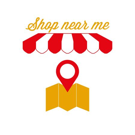 Shop Near Me, Near Home Sign, Emblem. Red and White Striped Awning Tent. Store Location, Map Pin Icon. Gold and Red Colors. Flat Vector Illustration.