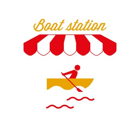 Boat Station Sign, Emblem. Red and White Striped Awning Tent. Rowing Boat Icon. Gold and Red Colors. Flat Vector Illustration.