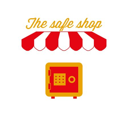 The Safe Shop Sign, Emblem. Red and White Striped Awning Tent. Fireproof Safe Icon. Gold and Red Colors. Flat Vector Illustration.