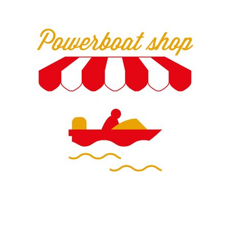 Powerboat Shop Sign, Emblem. Red and White Striped Awning Tent. Motor Boat, Speedboat Icon. Gold and Red Colors. Flat Vector Illustration.