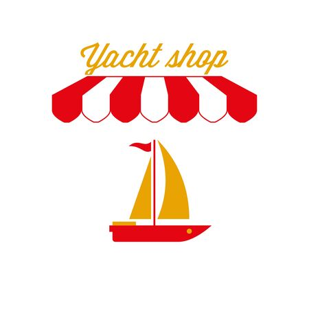 Yacht Shop Sign, Emblem. Red and White Striped Awning Tent. Sailing Yacht Icon. Gold and Red Colors. Flat Vector Illustration.