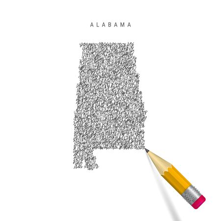 Alabama sketch scribble map isolated on white background. Hand drawn vector map of Alabama. Realistic 3D pencil with rubber. Stock Vector - 130920887
