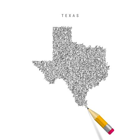 Texas sketch scribble map isolated on white background. Hand drawn vector map of Texas. Stock Illustratie