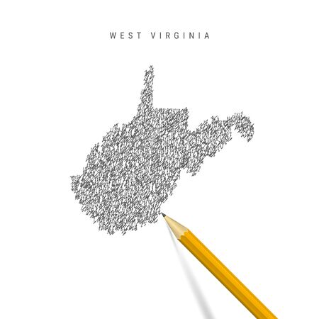 West Virginia sketch scribble map isolated on white background. Hand drawn vector map of West Virginia. Stock Illustratie