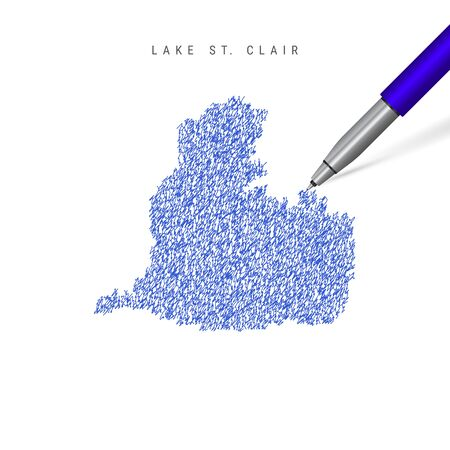 Lake St. Clair sketch scribble map isolated on white background. Hand drawn vector map of Lake St. Clair.