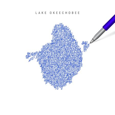 Lake Okeechobee sketch scribble map isolated on white background. Hand drawn vector map of Lake Okeechobee.