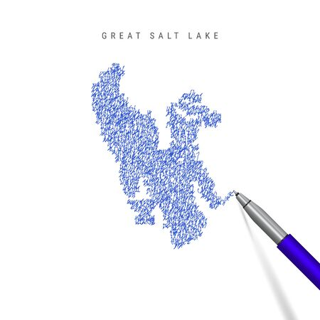 Great Salt Lake sketch scribble map isolated on white background. Hand drawn vector map of Great Salt Lake. Stock Illustratie