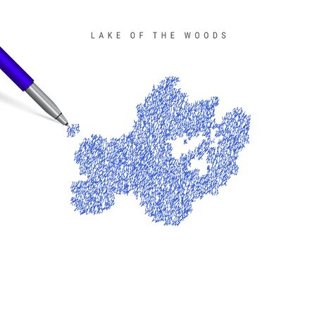 Lake of the Woods sketch scribble map isolated on white background. Hand drawn vector map of Lake of the Woods.
