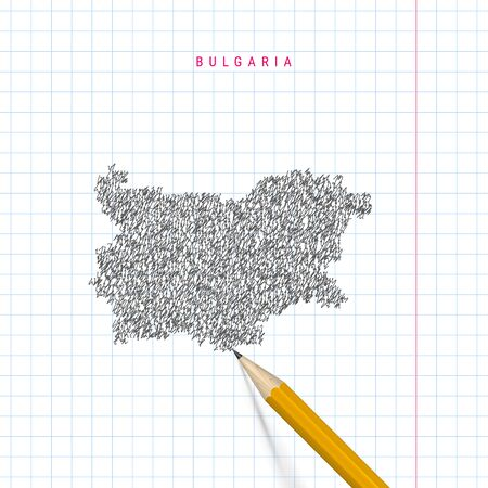 Bulgaria sketch scribble map drawn on checkered school notebook paper background. Hand drawn vector map of Bulgaria. Realistic 3D pencil. Stock Vector - 131283893