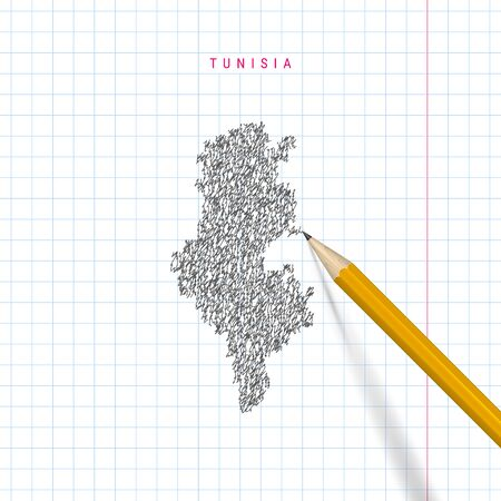 Mapa de garabatos de bosquejo de Túnez dibujado sobre fondo de papel de cuaderno escolar a cuadros. Mapa de vectores dibujados a mano de Túnez. Lápiz 3D realista. Ilustración de vector