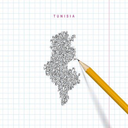 Tunisia schizzo scarabocchio mappa disegnata su sfondo di carta quaderno di scuola a scacchi. Mappa vettoriale disegnata a mano della Tunisia. Matita 3D realistica. Vettoriali