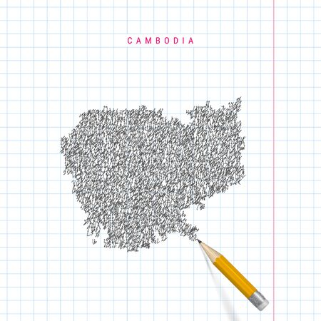 Cambodia sketch scribble map drawn on checkered school notebook paper background. Hand drawn vector map of Cambodia. Realistic 3D pencil with rubber.