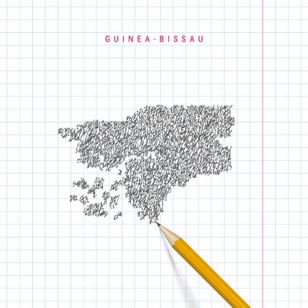 Guinea-Bissau sketch scribble map drawn on checkered school notebook paper background. Hand drawn vector map of Guinea-Bissau. Realistic 3D pencil. 向量圖像