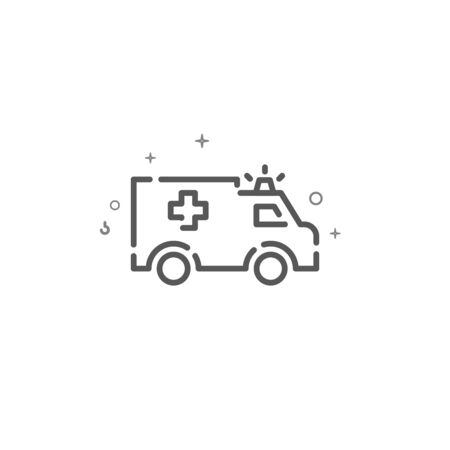 Ambulance car simple vector line icon. Emergency symbol, pictogram, sign. Light background. Editable stroke. Adjust line weight.