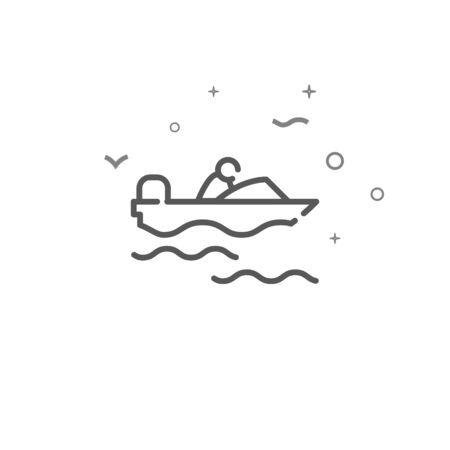 Powerboat simple vector line icon. Motorboat symbol, pictogram, sign. Light background. Editable stroke. Adjust line weight. 向量圖像