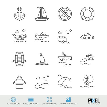 Water safety and watercraft related vector line icon set. Pixel perfect design. Editable stroke. Adjust line weight. Expand to any size. Change to any color.
