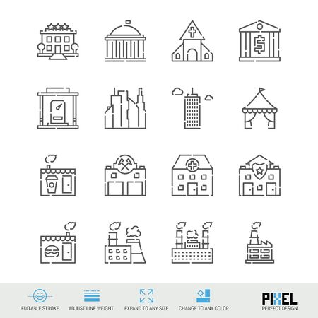 Buildings for various purposes related vector line icon set. Pixel perfect design. Editable stroke. Adjust line weight. Expand to any size. Change to any color.