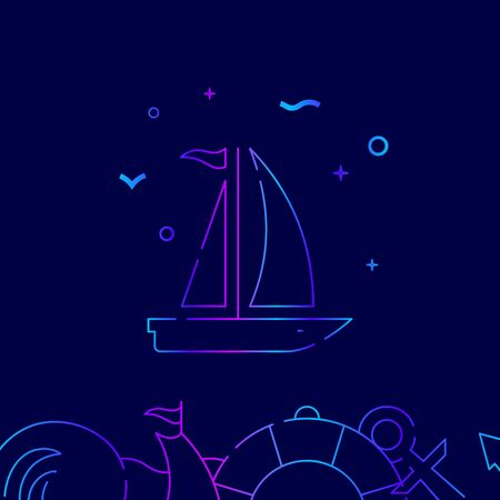 Sailing yacht, sailboat vector gradient line icon, illustration, symbol or pictogram, sign. Dark blue background. Related bottom border. Ilustracja