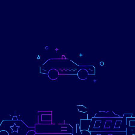 Taxi car vector gradient line icon, illustration, symbol or pictogram, sign. Dark blue background. Related bottom border.