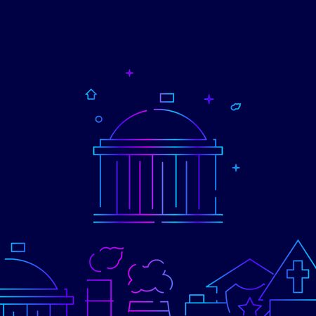 Capitol, White House, government building vector gradient line icon, illustration, or pictogram, sign. Dark blue background. Related bottom border. 向量圖像