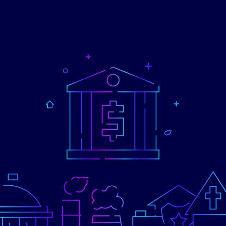 Bank vector gradient line icon, illustration, symbol or pictogram, sign. Dark blue background. Related bottom border.