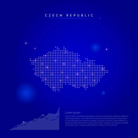 Czech Republic illuminated map with glowing dots. Dark blue space background. Vector illustration. Growing chart, lorem ipsum text.