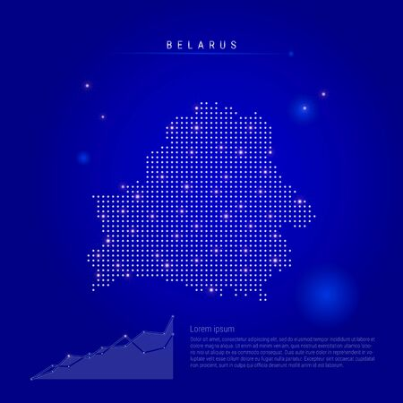 Belarus illuminated map with glowing dots. Infographics elements. Dark blue space background. Vector illustration. Growing chart, lorem ipsum text.