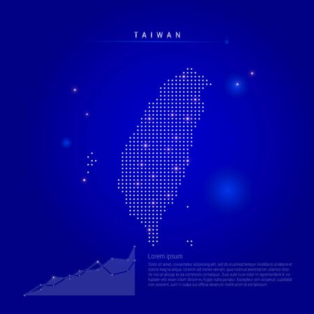Taiwan illuminated map with glowing dots. Infographics elements. Dark blue space background. Vector illustration. Growing chart, lorem ipsum text.