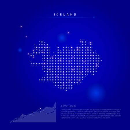Iceland illuminated map with glowing dots. Infographics elements. Dark blue space background. Vector illustration. Growing chart, lorem ipsum text.