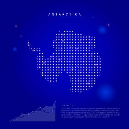 Antarctica illuminated map with glowing dots. Infographics elements. Dark blue space background. Vector illustration. Growing chart, lorem ipsum text.