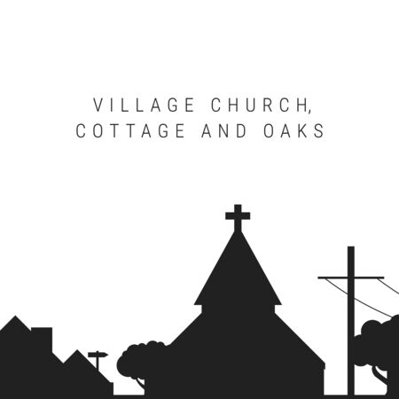 Village church, cottage and oaks black silhouette isolated on white. Vector illustration. Cottage roof, telegraph pole.