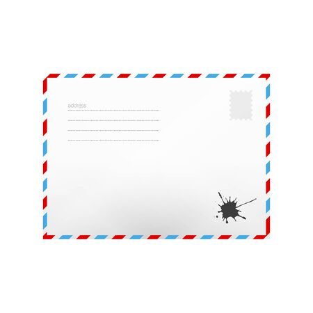Air mail realistic envelope with address lines isolated on white. Postal background. Vector illustration. Postage stamp and ink blot.