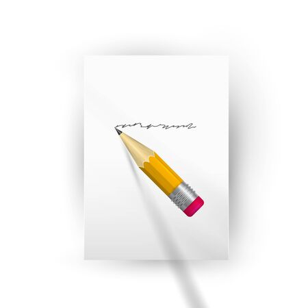 Realistic wooden pencil writes on a piece of paper. Sharpened detailed pencil, vector illustration.