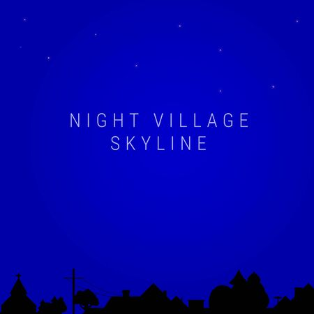 Night village skyline. Village church, house roofs, trees, chimneys, electric or telegraph pole. Vector illustration