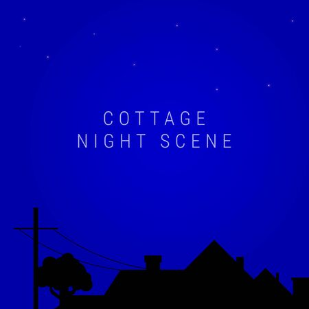 Night village cottage skyline. Roof of the country house, oak silhouette, chimneys, electric or telegraph pole. Vector illustration