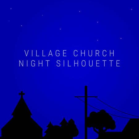 Night village church skyline. Christian village church or meeting house silhouette, trees, electric or telegraph pole. Vector illustration Vettoriali
