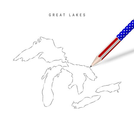 All of the Great Lakes vector map pencil sketch. Superior, Michigan, Huron, Erie, and Ontario outline contour map with 3D pencil in american flag colors. 일러스트