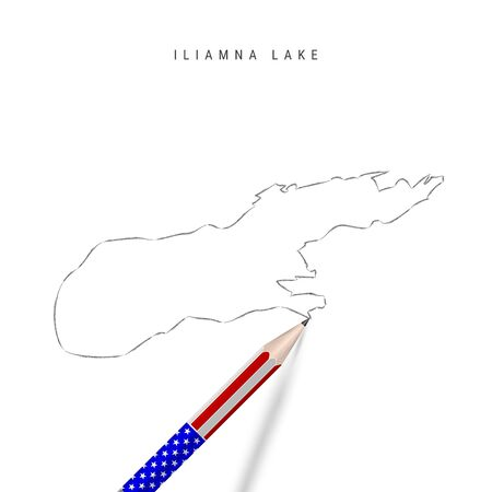 Iliamna Lake vector map pencil sketch. Iliamna Lake outline contour map with 3D pencil in american flag colors. Freehand drawing vector, hand drawn sketch isolated on white.