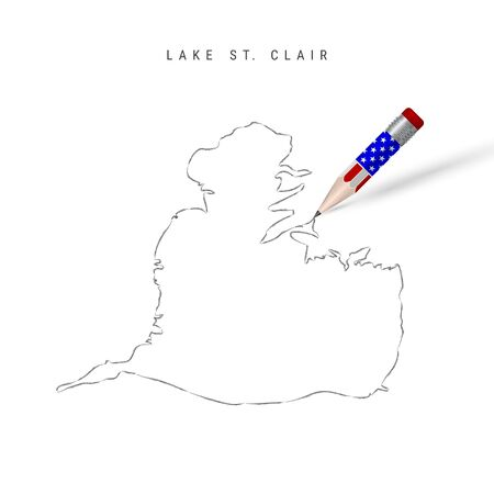 Lake St. Clair vector map pencil sketch. Lake St. Clair outline contour map with 3D pencil in american flag colors. Freehand drawing vector, hand drawn sketch isolated on white.