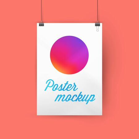 A4, A3 or A2 size ratio poster mockup, paper frame hanging with paper clips. Gradient circle template. Faded orange background. Soft shadows. Vector illustration