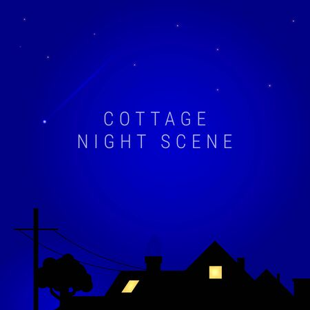 Cottage night scene. Inside-lit village house with an old oak tree growing nearby and a telegraph pole. Illuminated home. A comet flies in the sky, or an airplane with an inversion trail. Vector art.