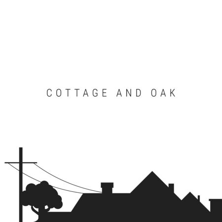 Black silhouette of the roof of the cottage with chimneys, oak grows nearby. Real estate or construction background. Vector illustration isolated on white.