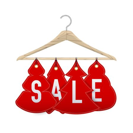 Wooden clothes hanger with discounts in the shape of Christmas trees. Realistic vector illustration. New Year's discounts on clothes. Vettoriali