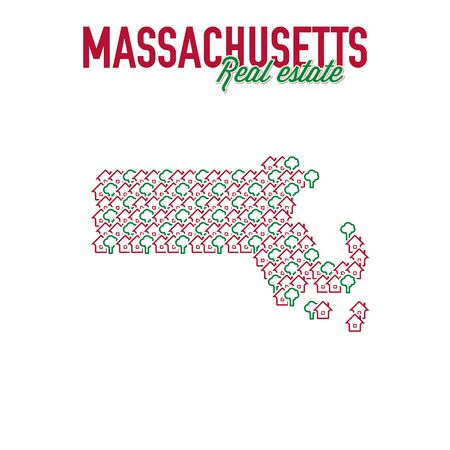 Massachusetts real estate properties map. Text design. Massachusetts US state realty creative concept. Icons of houses with gardens in the shape of a map of Massachusetts. Vector illustration.
