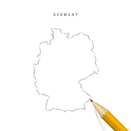 Germany sketch outline map isolated on white background. Empty hand drawn vector map of Germany. Realistic 3D pencil with soft shadow.