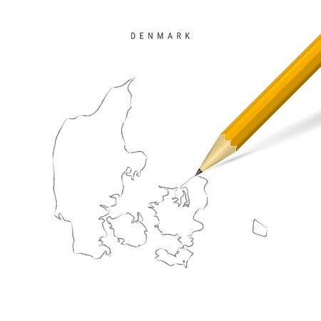 Denmark sketch outline map isolated on white background. Empty hand drawn vector map of Denmark. Realistic 3D pencil with soft shadow.