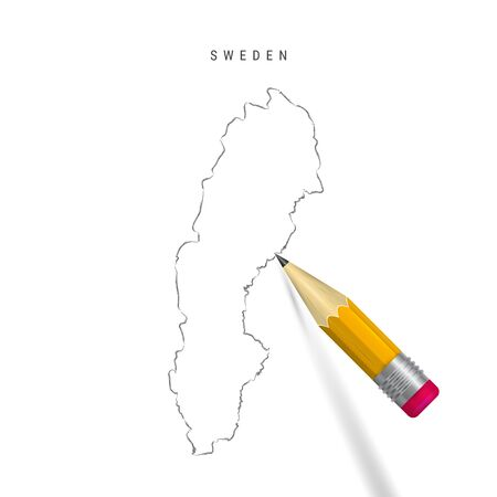 Sweden sketch outline map isolated on white background. Empty hand drawn vector map of Sweden. Realistic 3D pencil with soft shadow. Illustration