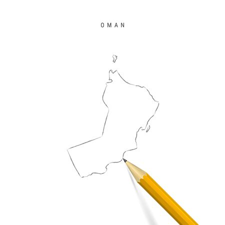 Oman sketch outline map isolated on white background. Empty hand drawn vector map of Oman. Realistic 3D pencil with soft shadow.