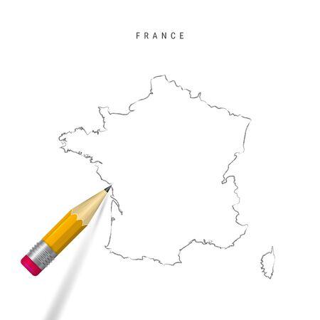 France croquis carte muette isolé sur fond blanc. Carte vectorielle dessinée à la main vide de la France. Crayon 3D réaliste avec ombre douce.