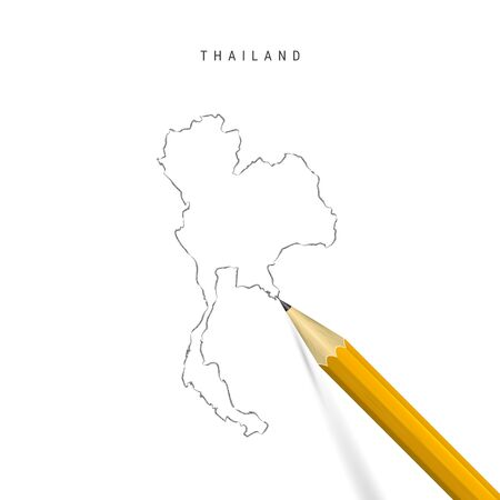 Thailand sketch outline map isolated on white background. Empty hand drawn vector map of Thailand. Realistic 3D pencil with soft shadow.